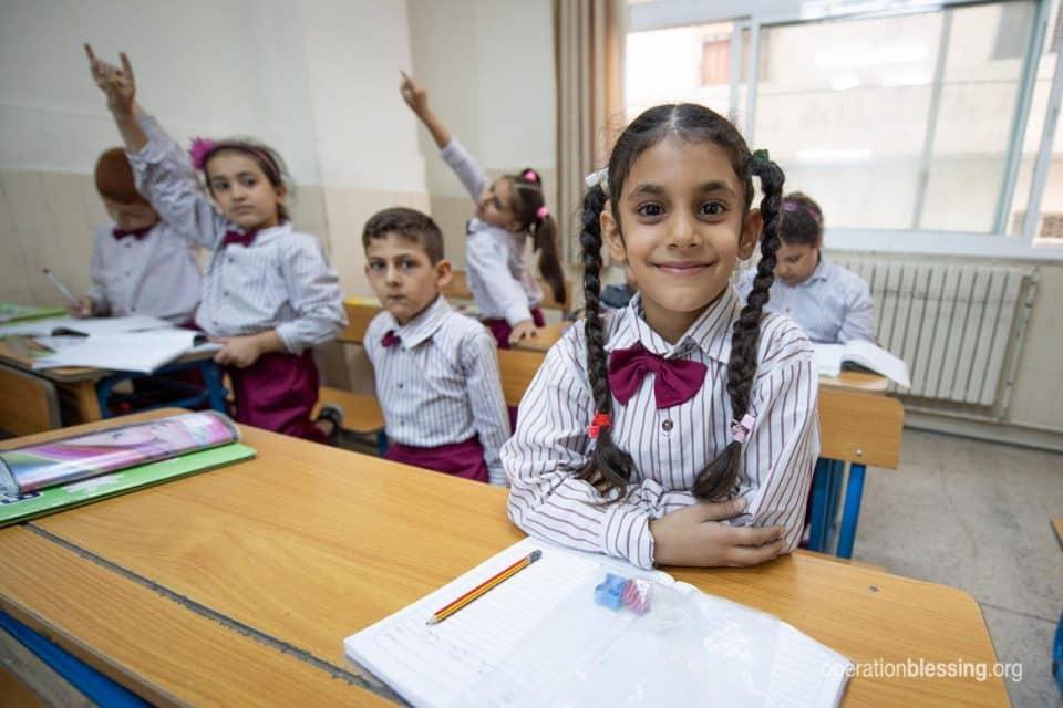 Maryam in her Christian school for refugees in Jordan.
