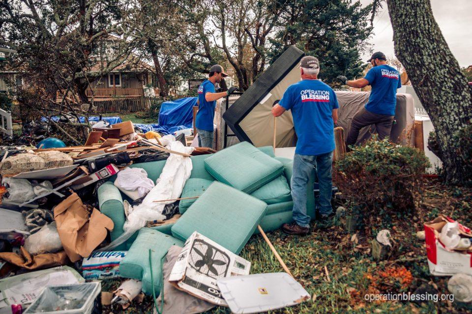 Debris after Hurricane Dorian in Ocracoke Island.