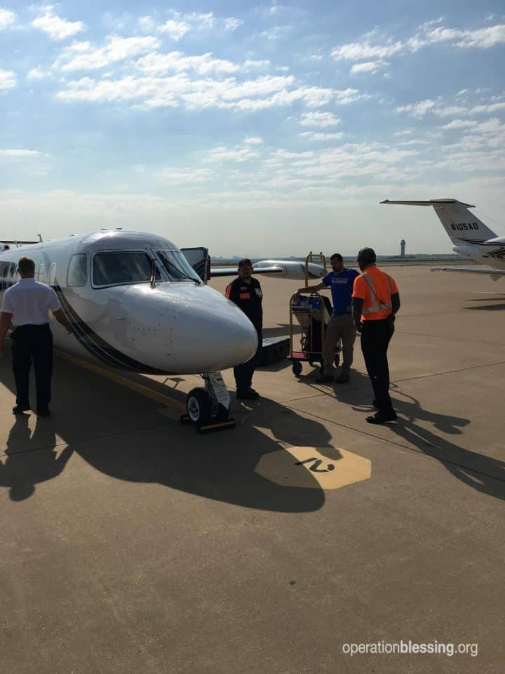 A Judah 1 plane flying Operation Blessing to the Bahamas.