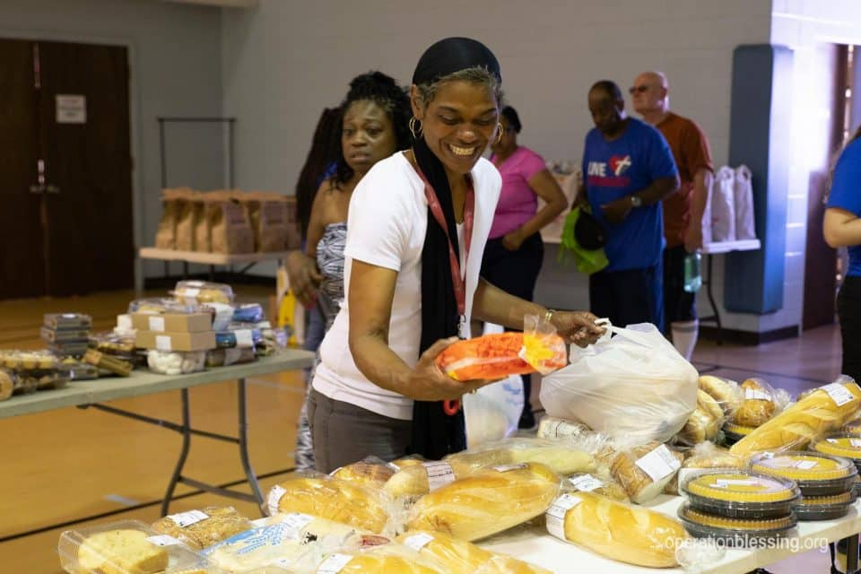 Free food at Operation Blessing supported pantry for cancer patient.