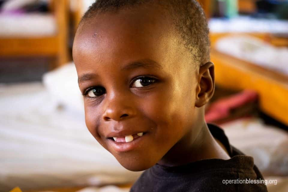 Operation Blessing supporters put that smile on Sadiki's face.