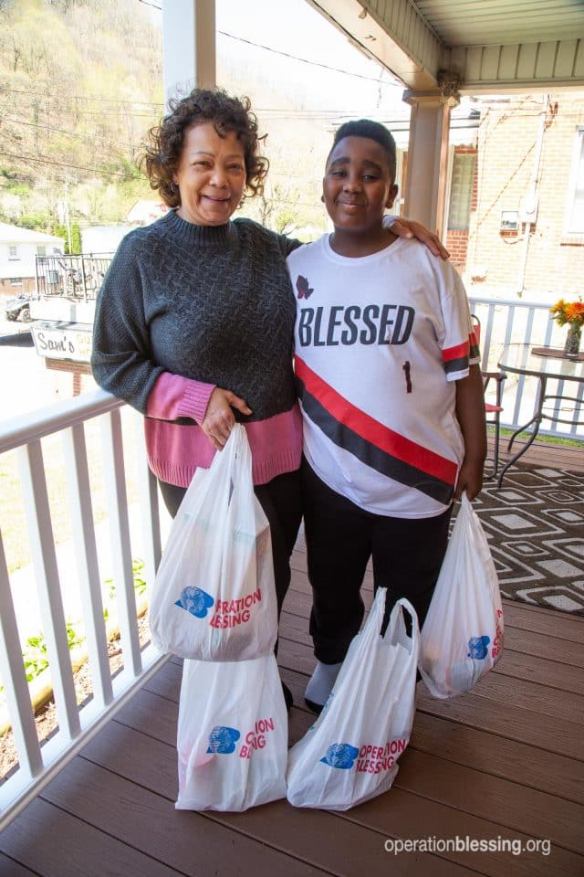 Tina and Josiah get free groceries in their time of need.