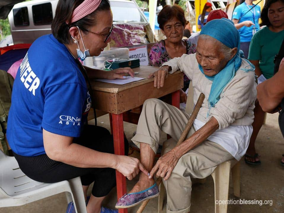 Medical care being given to a victim of the Philippine earthquake