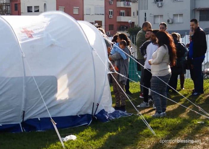 Medical tents for earthquake victims in Albania.