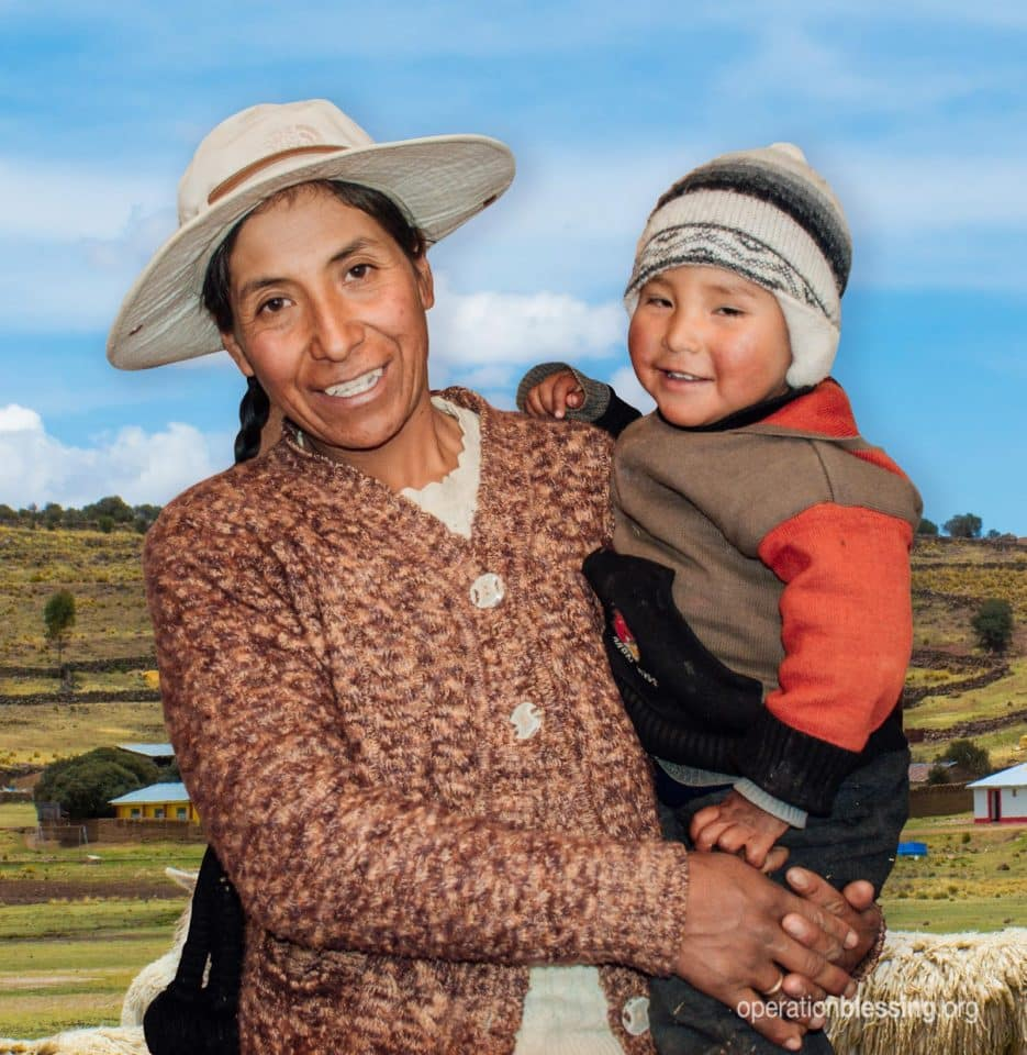 Happy mother and child in Peru.