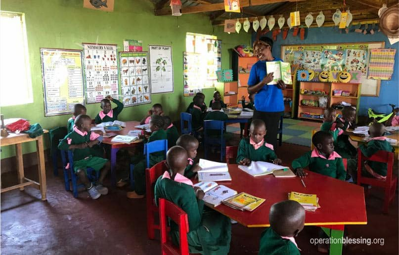 Preschool in Dora's village in Kenya.