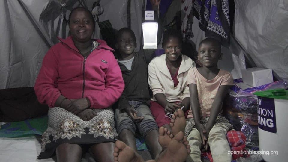 Campground of survivors in Kenya.