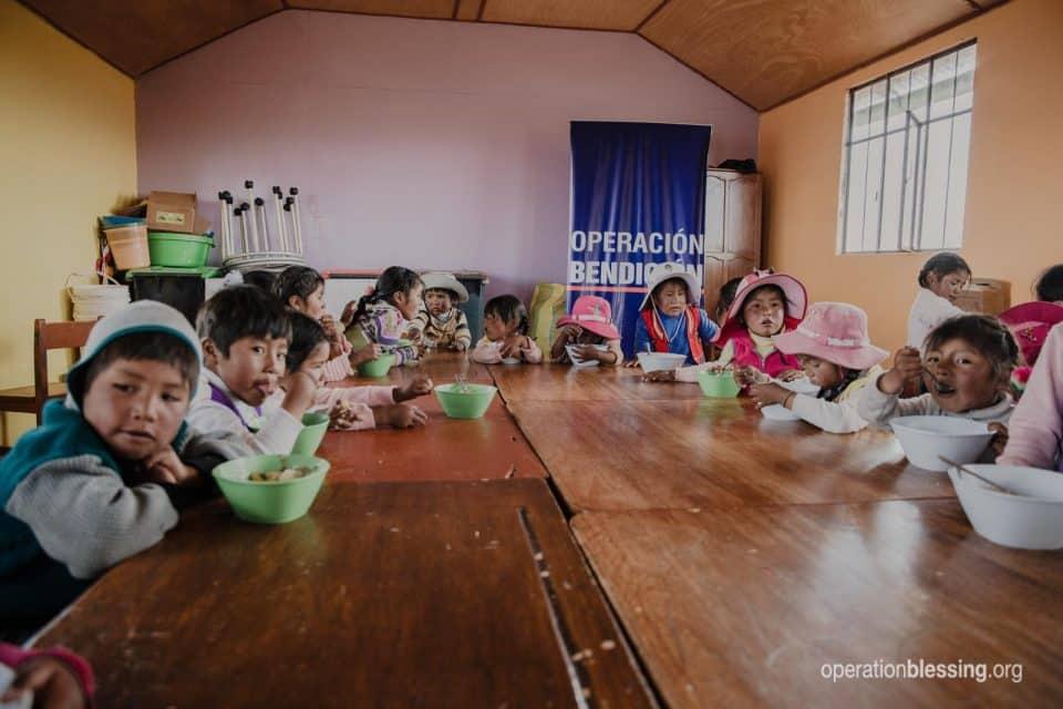 School children getting good nutrition in Peru.