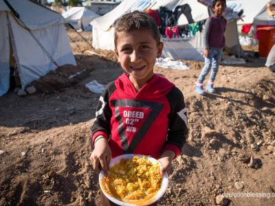 Sending love in the form of food to Syrian refugee child.