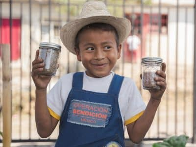 Carlos and his school in Mexico received clean water solutions and an agriculture program thanks to you.