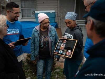 Patrice receives Nashville tornado recovery assistance from Operation Blessing volunteers.