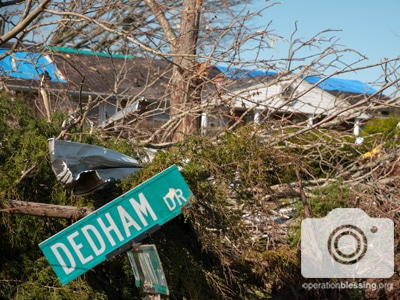 Damage from the Tennessee tornado; Operation Blessing is there to help.