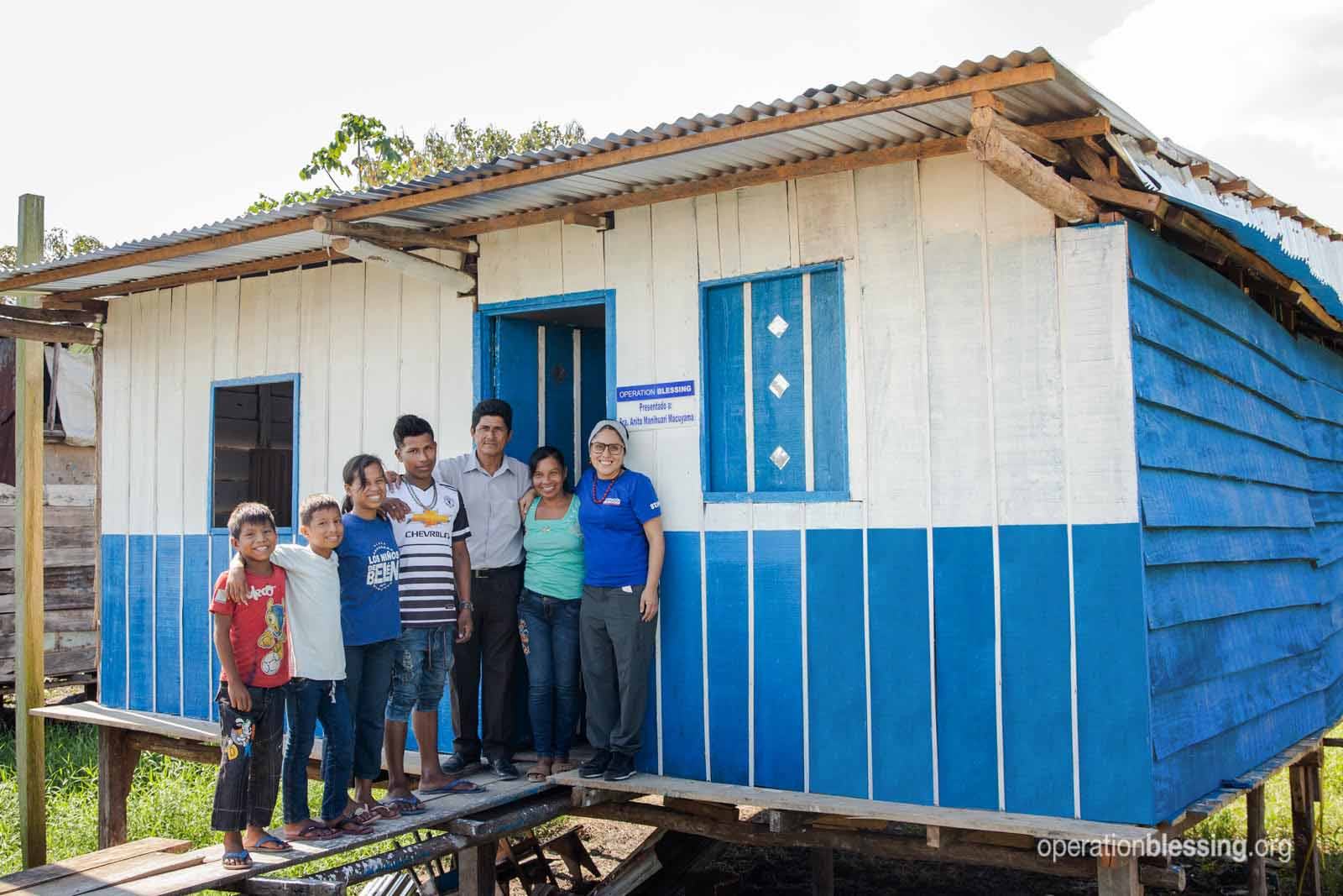 New home for a family in Peru after and earthquake.