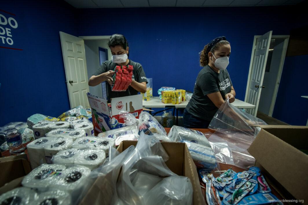Hurricane Eta disaster relief supplies.