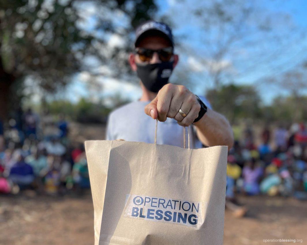 Distributing food to the hungry